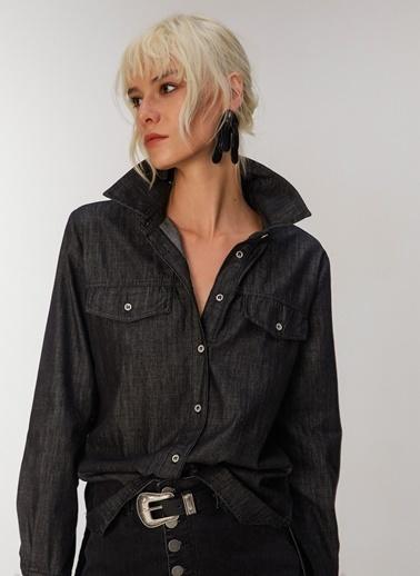 People By Fabrika Kadın Jean  Gömlek PFKAW20GM0009 Siyah